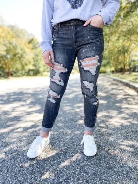 PLUS/REG Judy Blue Grey Wash Grease Lightening Bleached Out Boyfriend Jeans