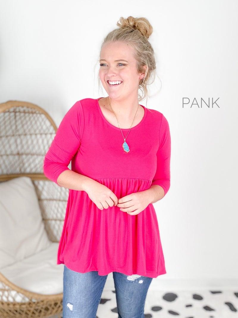 Doorbuster!!  Plus/Reg 3/4 Sleeve Shirred Waist Tunic Top (Multiple Colors)