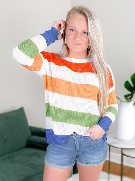 Long Sleeve Crew Neck Color Block Sweater (Multiple Colors)