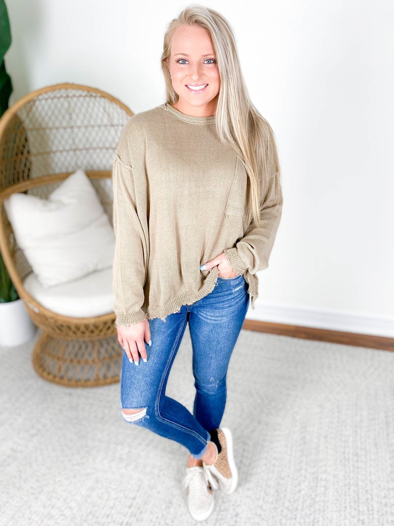 Olive Grey Oversized Boxy Sweater Top