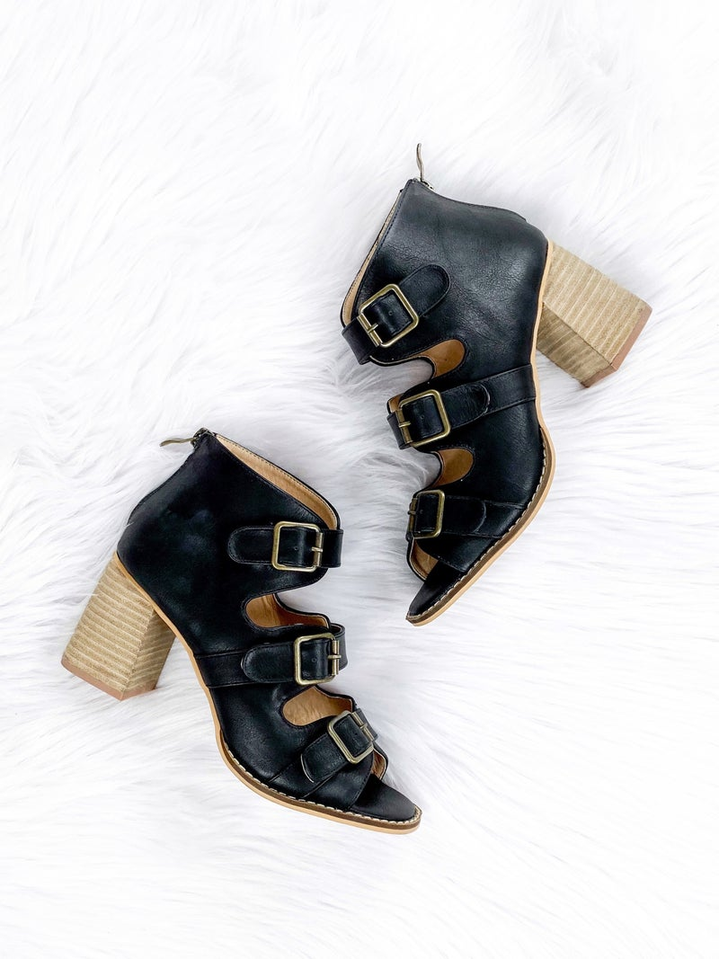 Women's Buckled Black Ankle Boots with Peep Toe