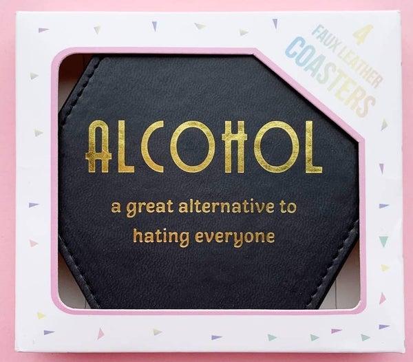 Faux Leather 'Alcohol' Coasters
