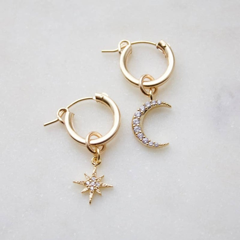 Small Gold Filled Hoops with Cubic Zirconia Moon & Star Charms