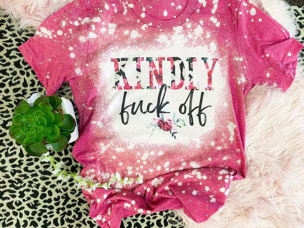 Kindly F Off Bleached Magenta Graphic