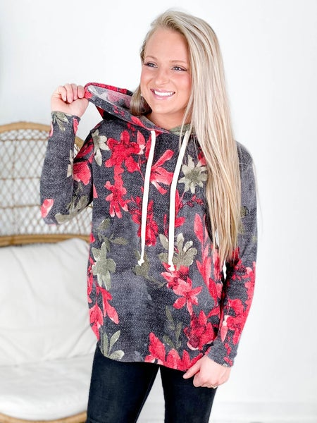 PLUS/REG Honeyme Charcoal & Red Floral Hooded Top