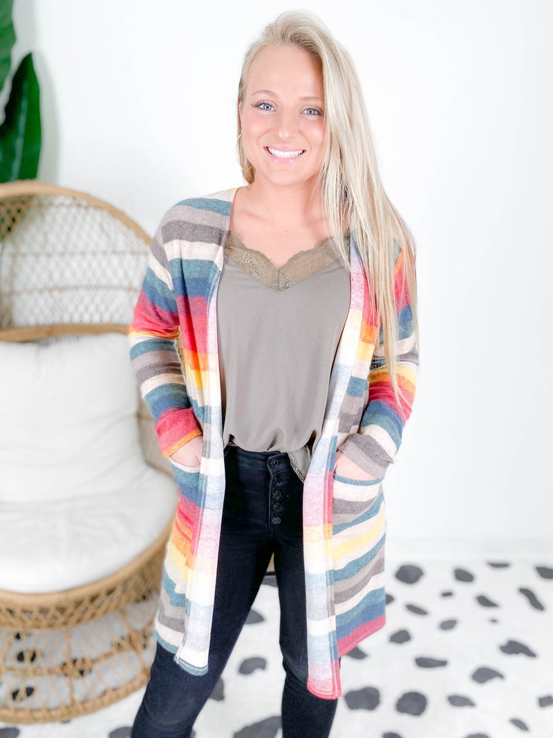 PLUS/REG Colorful Striped Cardigan (Multiple Colors)