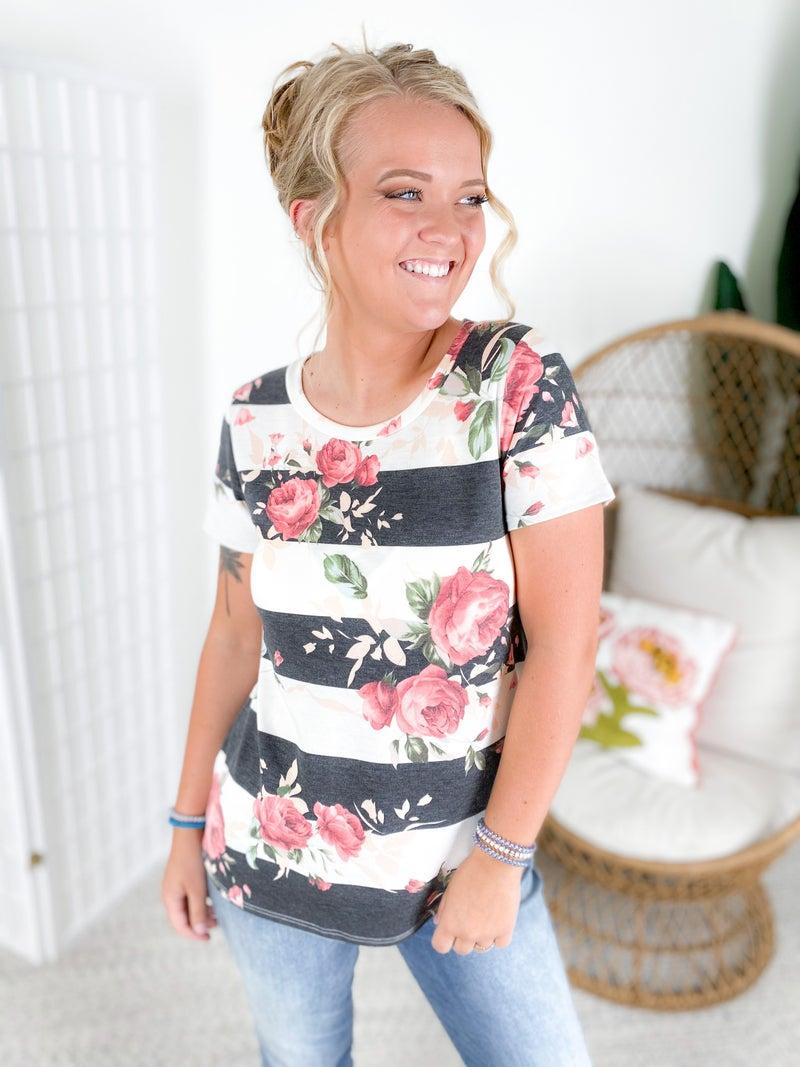 Stripe & Floral Print Short Sleeve Top