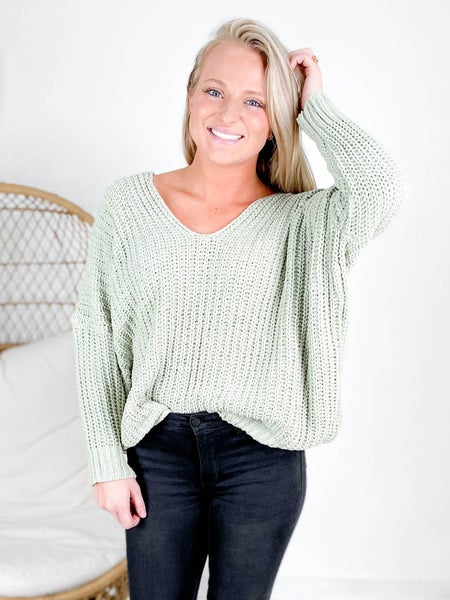 POL Ribbed Knit Sage Sweater