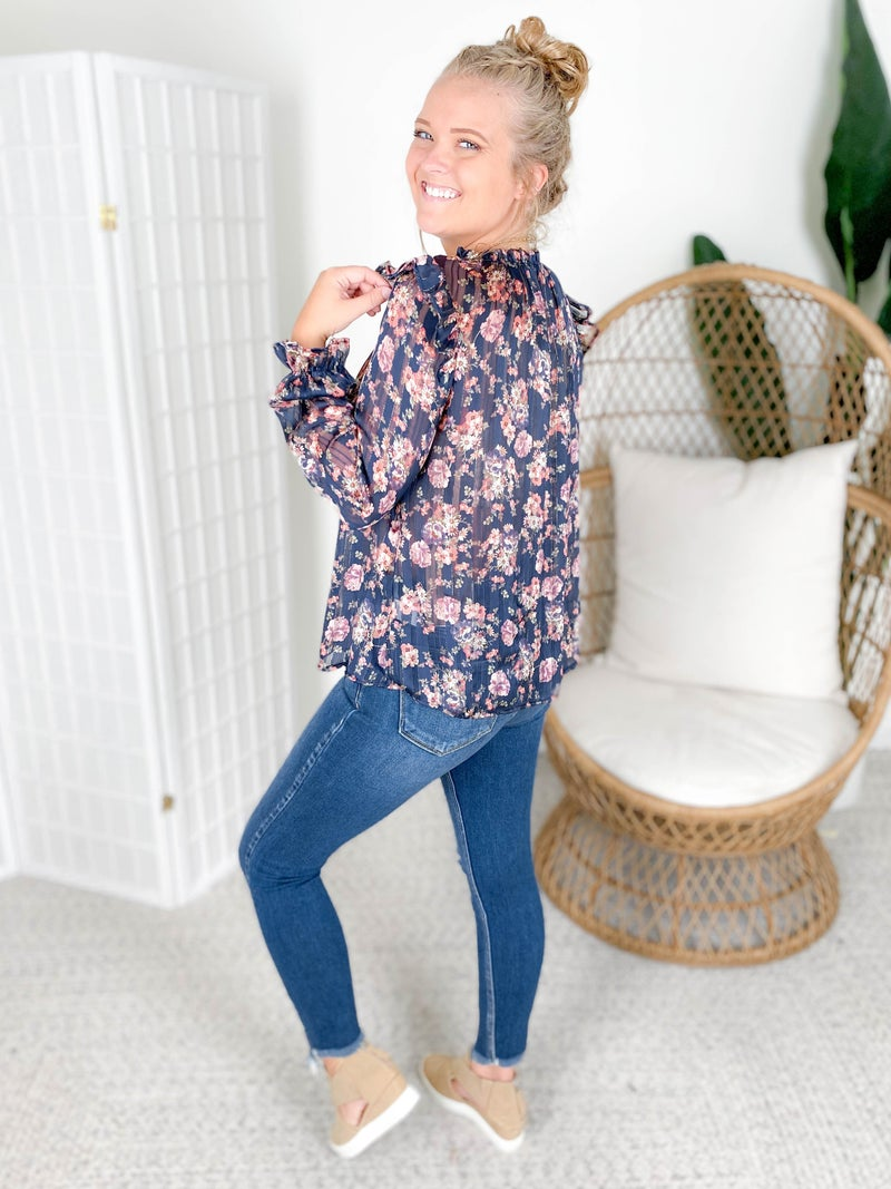 Navy Floral Print Sheer Top with Sparkle