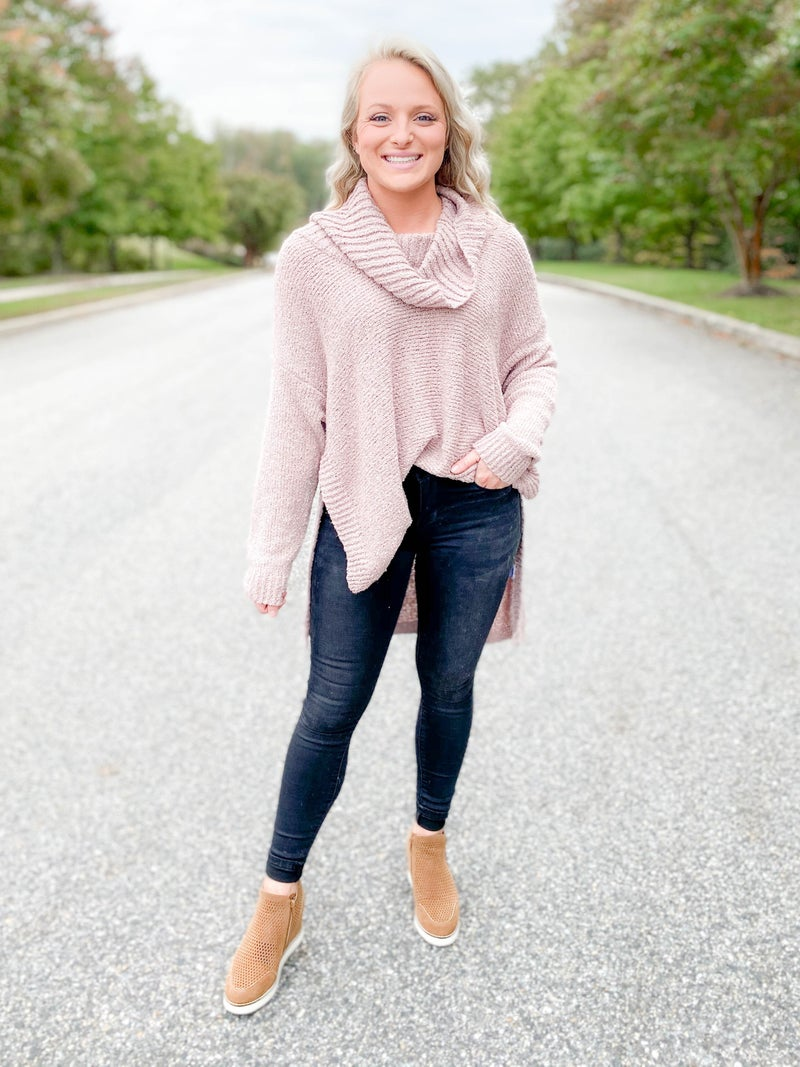 Cowl Neck High Low Sweater (Multiple Colors)