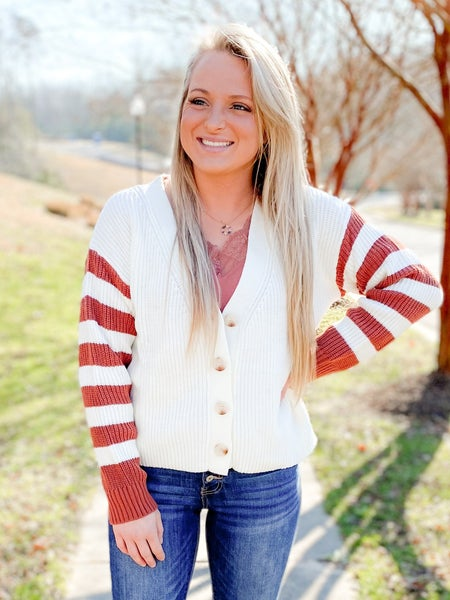 Button Down Stripe Sleeve Cardigan Sweater