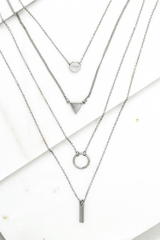 Gold or Silver Multi Layer Geo Shape Charm Necklace