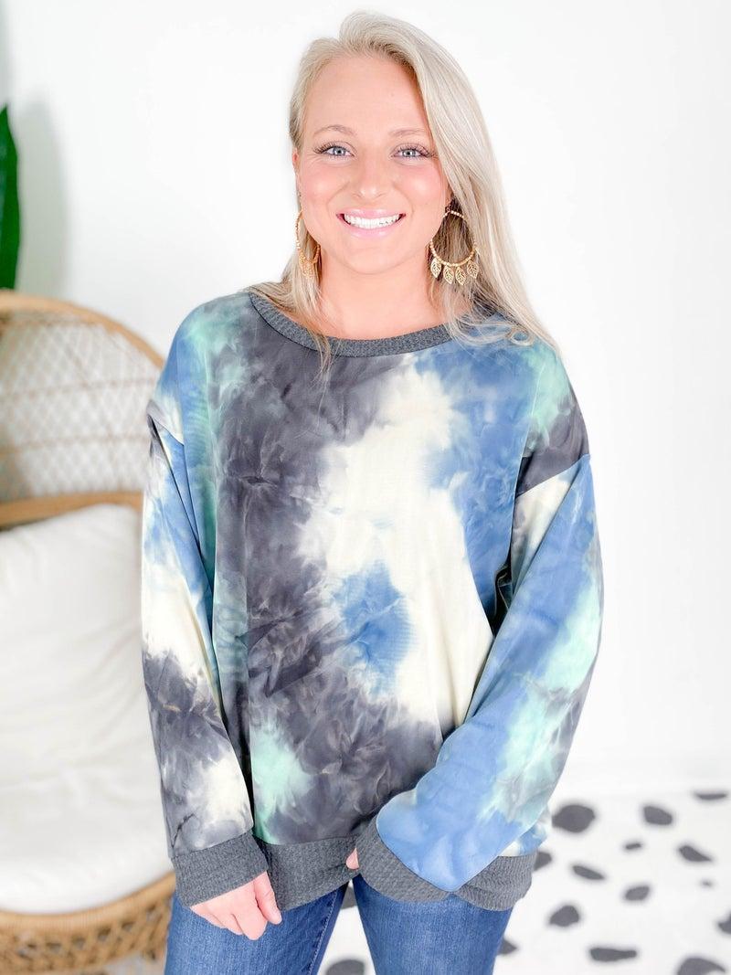 Super Soft Aqua Tie Dye Top