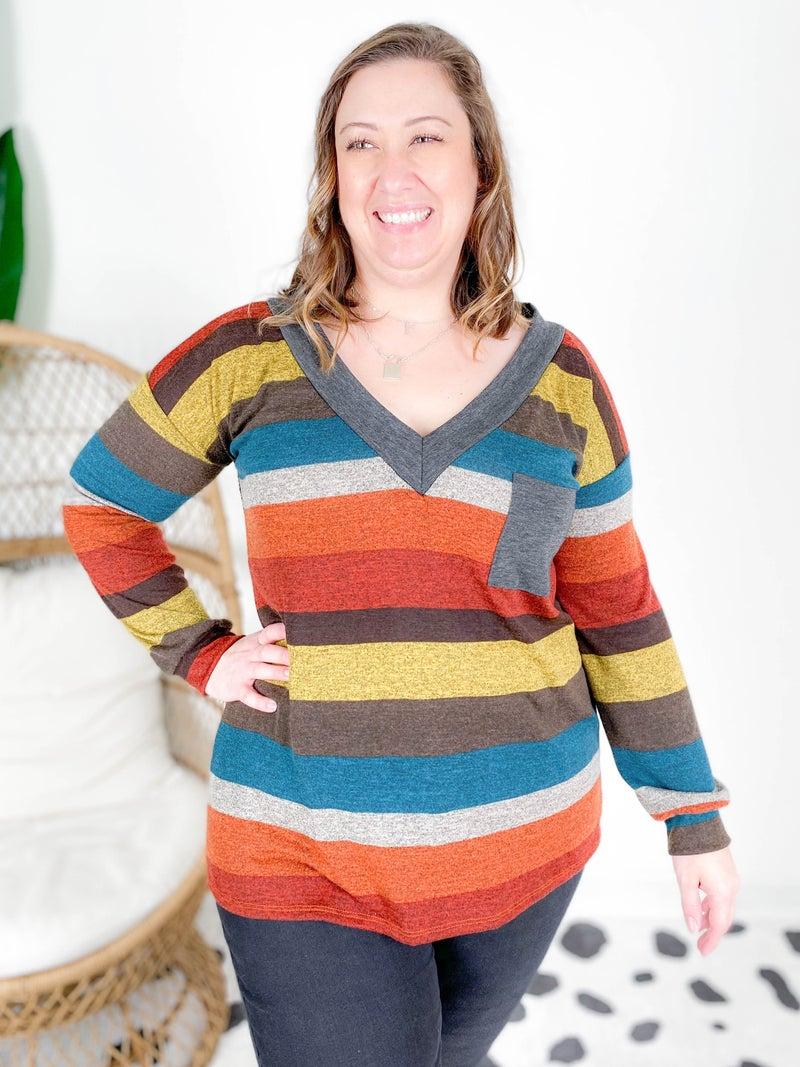 PLUS/REG Multi Color Stripe V Neck Top