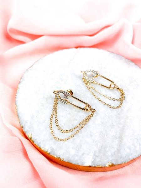 BRANDI GOLD SWAROVSKI PIN CHAIN EARRINGS