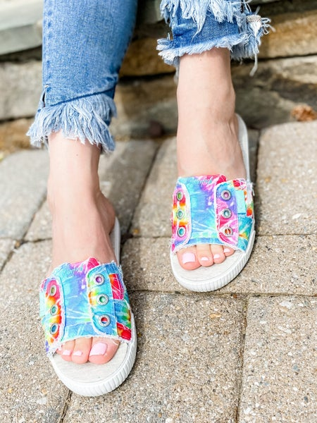 Blowfish Distressed Rainbow Tie Dye Slide Sandals
