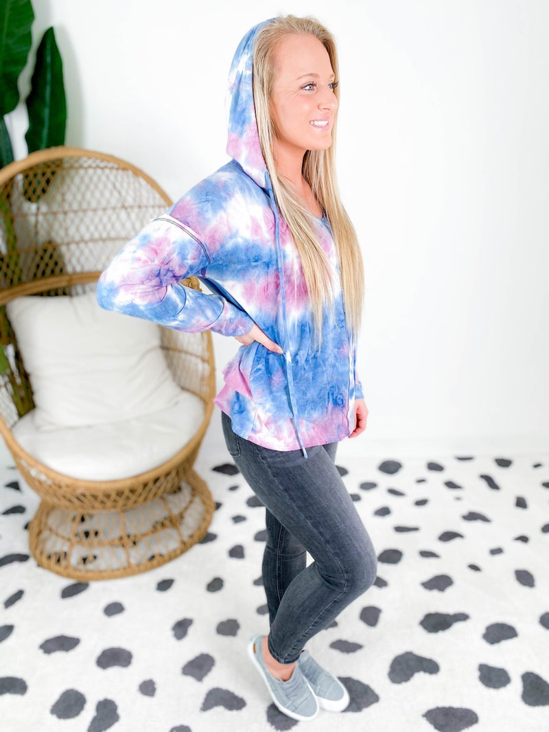 Tie Dye Contrast Stitch Hooded Top (Multiple Options)