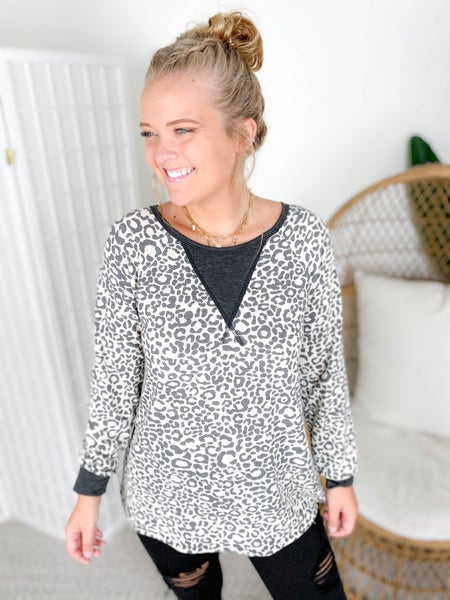 PLUS/REG Charcoal Leopard Print Top with Neckline Detail
