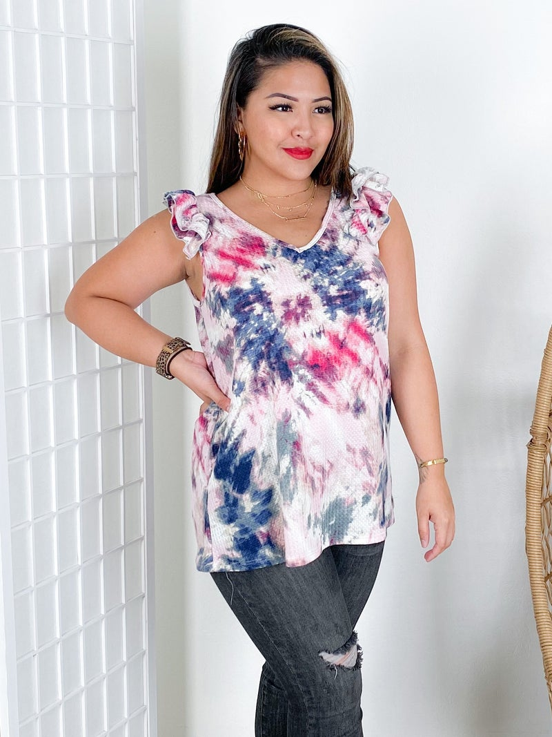 Sleeveless Waffle Knit Tie Dye Top with Ruffle Sleeves (Multiple Colors)