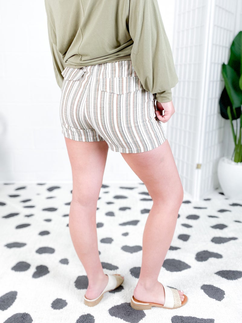Mint or Olive Stripe Tie Waist Shorts