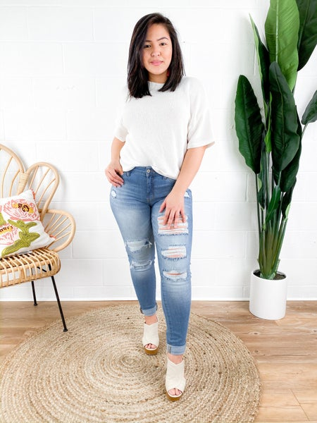 KanCan Patched Party Light Wash Skinny Jeans