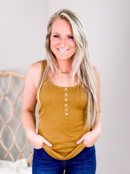 Solid Ribbed Tank Top With Button Detail (Multiple Colors)