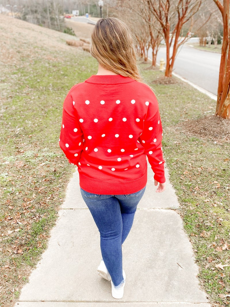 Solid Knit Sweater With Polka Dots (Multiple Colors)
