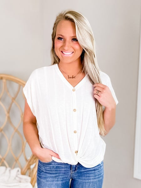 Solid Short Sleeve Dolman Top With Button Detail