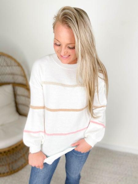 PLUS/REG Crew Neck Cloud Soft & Fuzzy Striped Sweater (Multiple Colors)