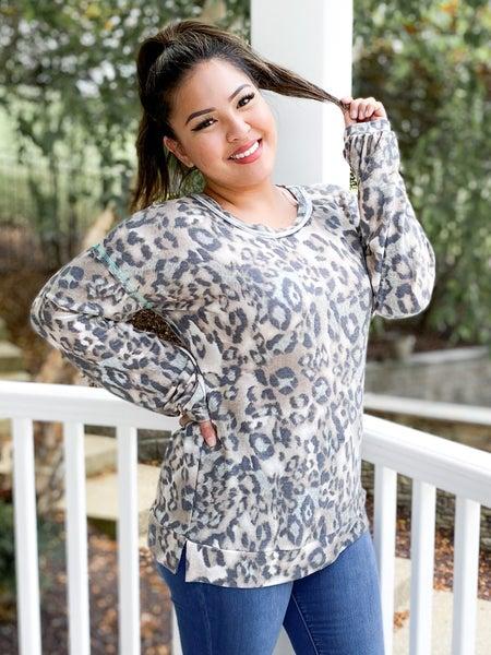 PLUS/REG Honeyme Long Sleeve Leopard Top with Mint Stitch Detail