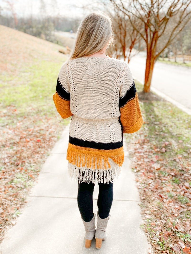 Black & Mustard Sweater Cardigan With Fringe Detail
