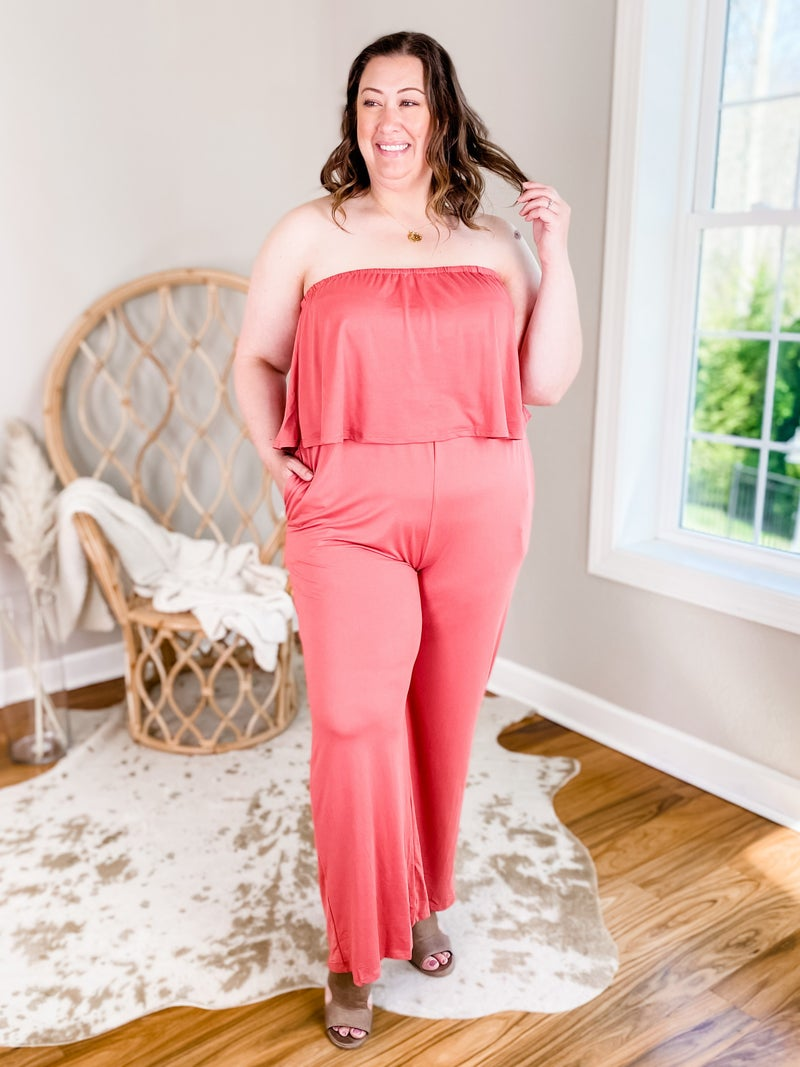 PLUS/REG Solid Flare Tube Top Jump Suit (Multiple Colors)