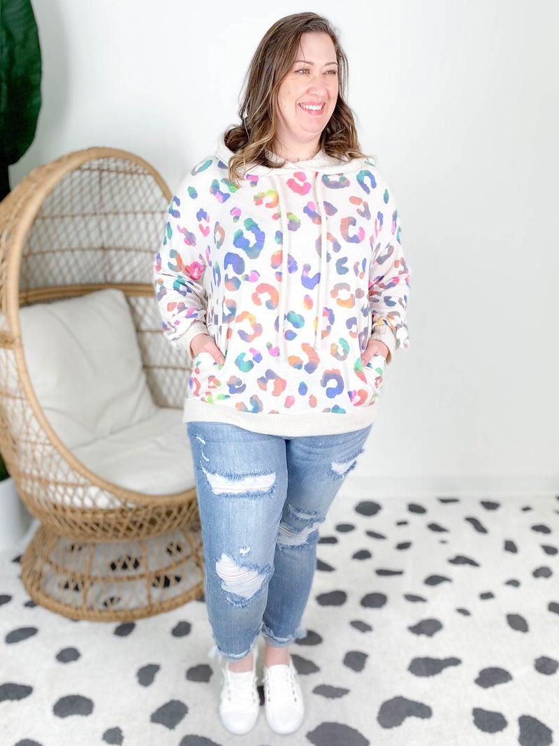 Plus/Reg Long Sleeve Leopard Rainbow Print Hoodie