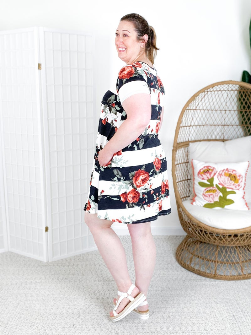 PLUS/REG Short Sleeve Stripe & Floral Dress with Pockets