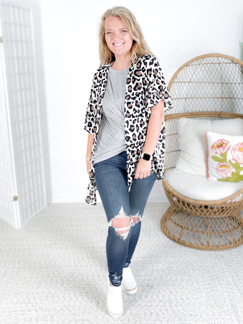Woven Leopard Cardigan with Flared Sleeves