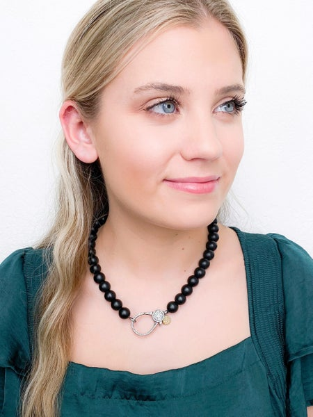 Karli Buxton 16″ Black Onyx Necklace with 2″ Gunmetal Pavé Clasp