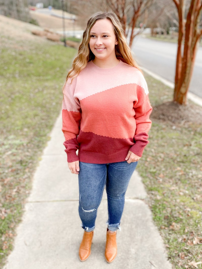 Berry Color Block Pull Over Sweater