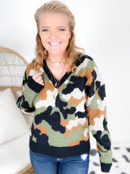 Multi Color Camo V-Neck Sweater