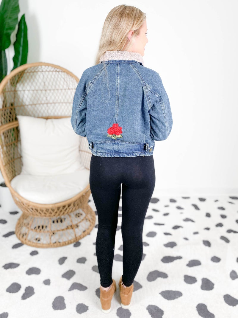 POL Denim Sherpa Jacket With Rose Embroidery Detail