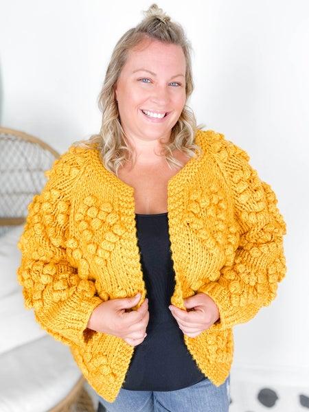 PLUS/REG Handmade Chunky Knit Pom Pom Sweater Cardigan (Multiple Colors)