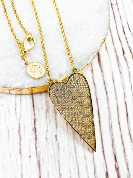 Karli Buxton Pave Gold Skinny Heart on Chain