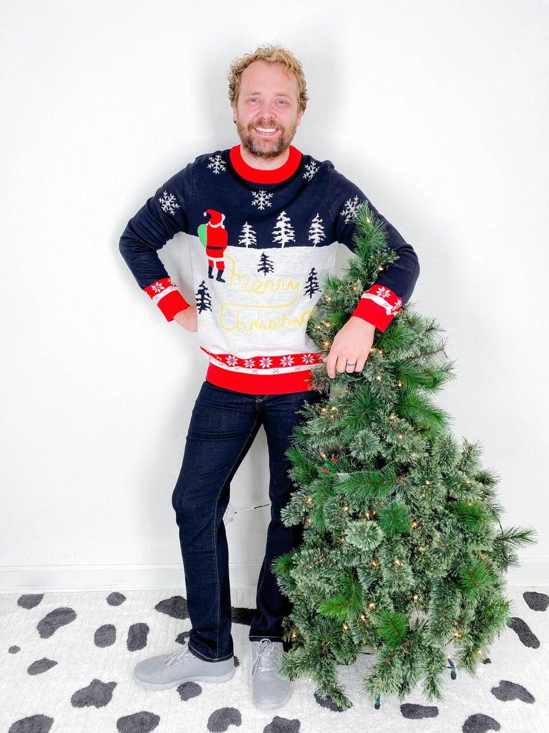 PLUS/REG Men's Yellow Snow Santa Christmas Sweater