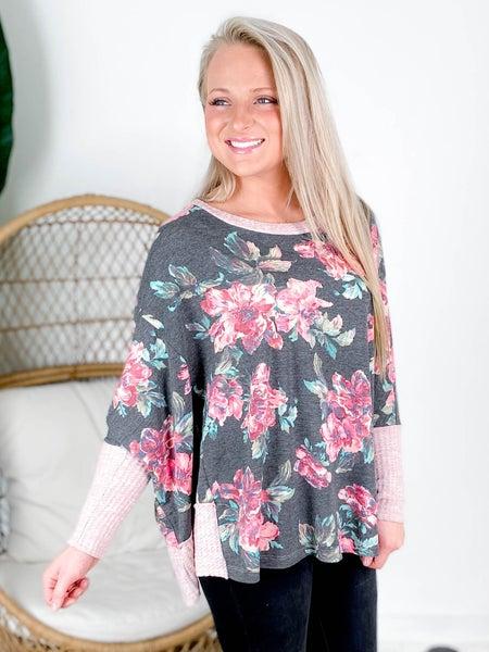 PLUS/REG Charcoal Long Sleeve Floral Print Knit Top