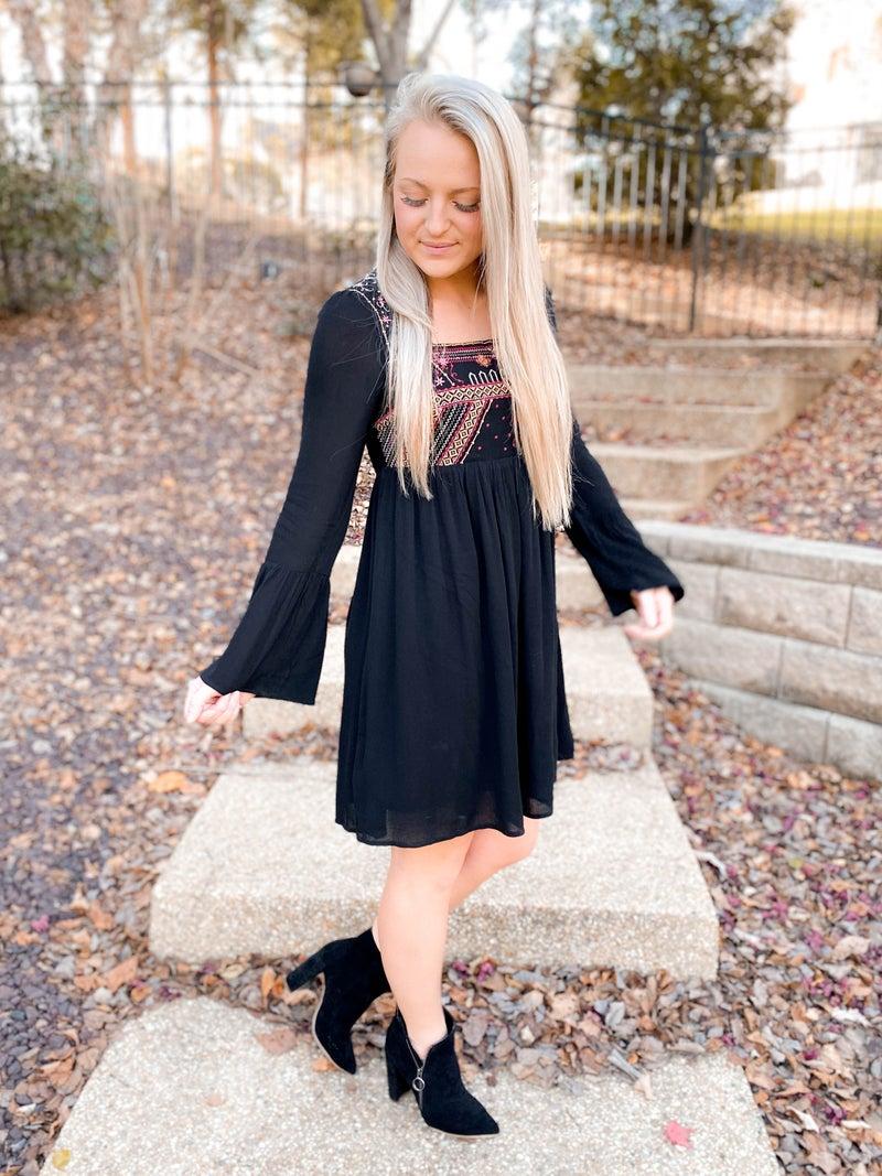 PLUS/REG Black Long Sleeve Embroidered Dress