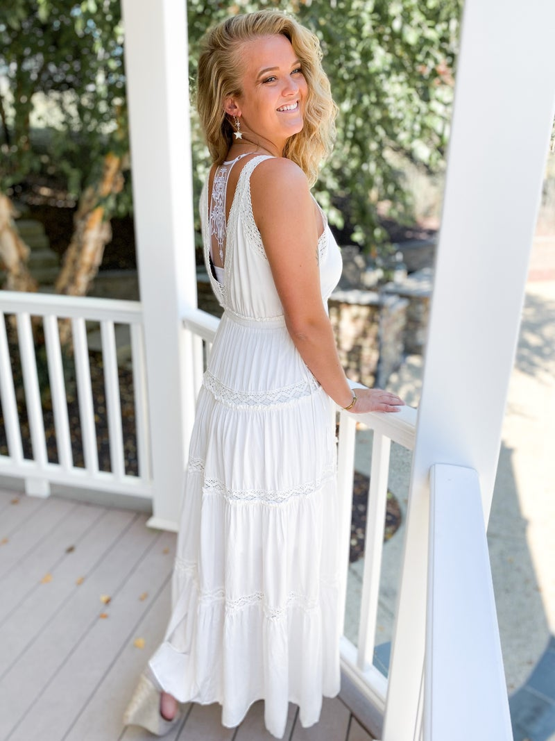 Ivory Tiered Lace Maxi Dress