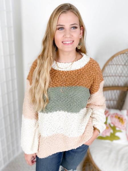 POL Popcorn Colorblock Sweater Top