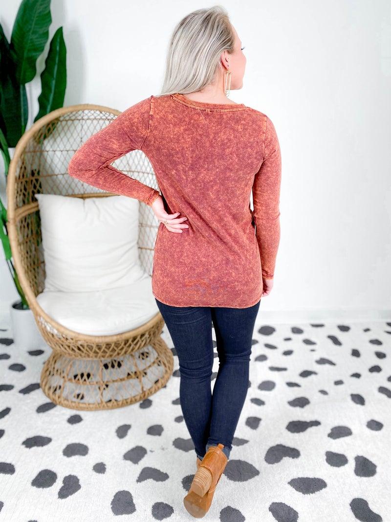 Door Buster! PLUS/REG Zenana Mineral Wash Long Sleeve V Neck Shirt (Multiple Colors)
