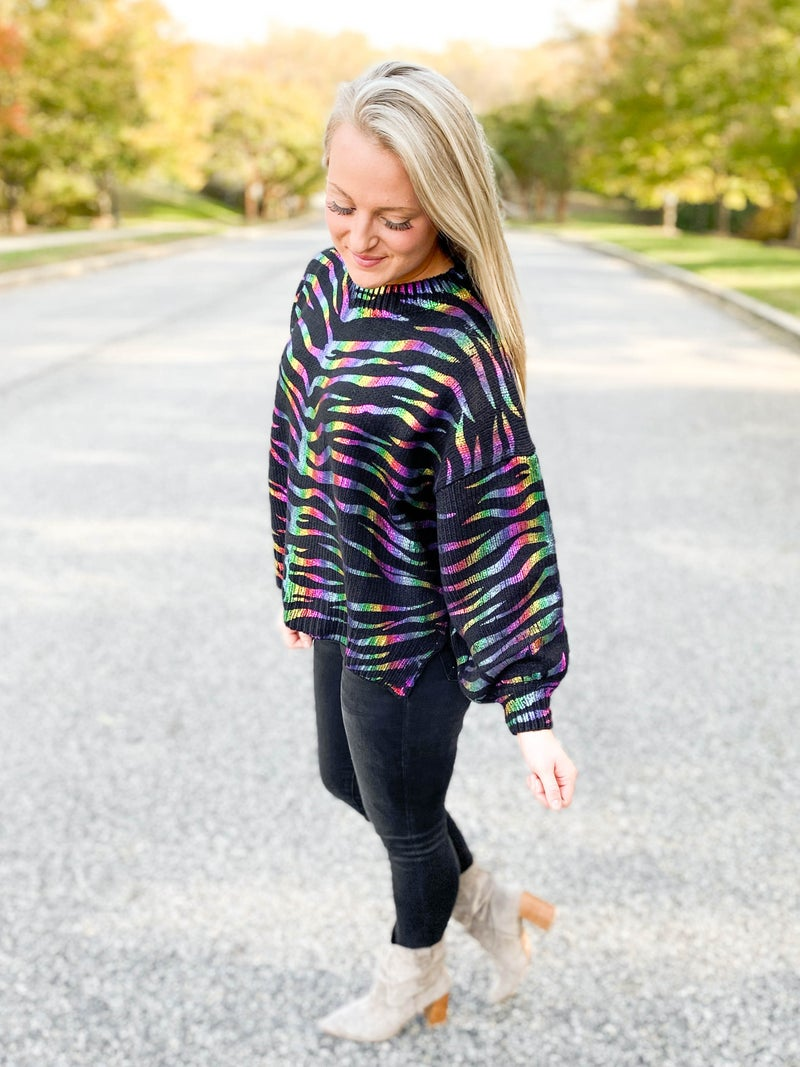 Holographic Foil Zebra Print Sweater Top