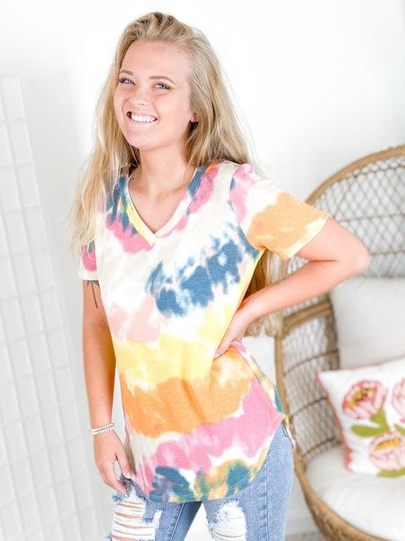 Swirl Tie Dye Top with Curved Hem