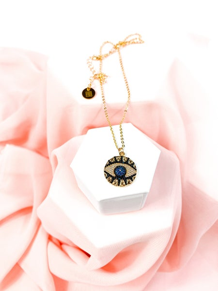 Jeweled Eye Pendant Gold Necklace